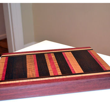 Handmade Medium Wood Cutting Board  - Purpleheart & Flame Maple