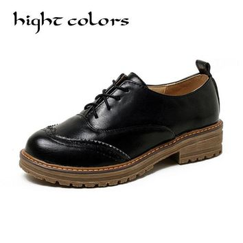 British Style Fashion Round Toe Oxford Shoes For Women Soft Leather Retro Brogues Women Oxfords Flat Heel Black Casual Shoes