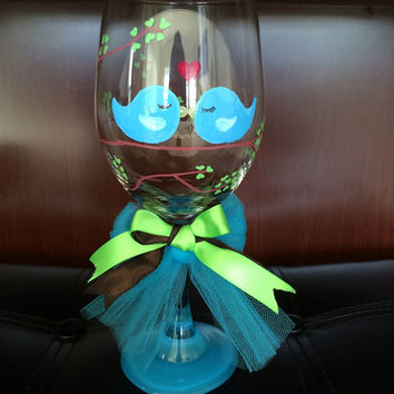 Love Blue Birds Hand Painted Wine Glass with bow