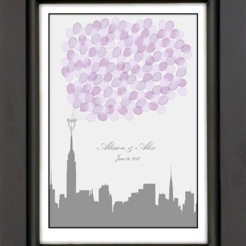Modern City Skyline Wedding Guest Book Alternative - Choose Any City - Balloons sign in, unique Keepsake / Wedding Gift, 150 Signatures