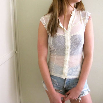 Vintage White Lace Prairie Style See Through Blouse by inzoopsia