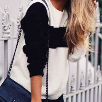 Fashion round neck long-sleeved sweater