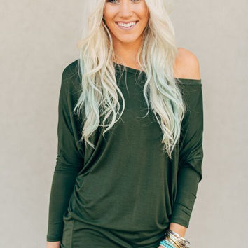 Off Shoulder Dolman Top in Olive