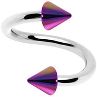 16 Gauge Iridescent Rainbow Acrylic Cone Spiral Twister | Body Candy Body Jewelry