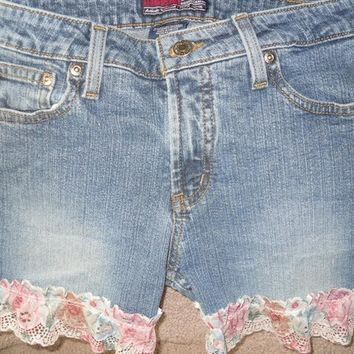 Up Cycled Lace Jeans Shorts Recycled Aeropostale lace denim jean shorts sz 3-4 juniors
