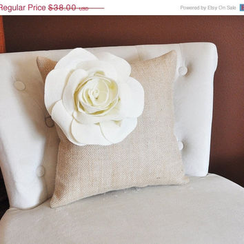 MOTHERS DAY SALE Ivory Corner Rose Flower on Burlap Pillow Accent Pillow Throw Pillow Toss Pillow Rustic Pillow