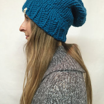Knit Slouchy Hat Beanie Blue Denim Warm And Cozy