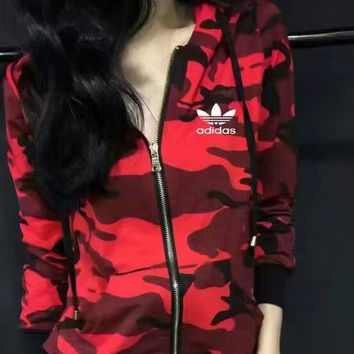 Adidas Women Casual Zipper Cotton Camouflage Cardigan Jacket Coat Sweatshirt