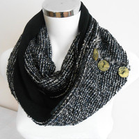 Men's scarf, Black and white male scarf, Circle scarf, Unisex scarf, Black and white tube scarves, Men loop scarf,  Men Infinity scarves