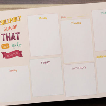 Harry Potter Printable Planner - 'I Solemnly Swear' To Do List, Weekly Desk Planner Work Schedule INSTANT DOWNLOAD Daily Plan Digital