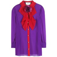 Silk blouse with brooch GUCCI