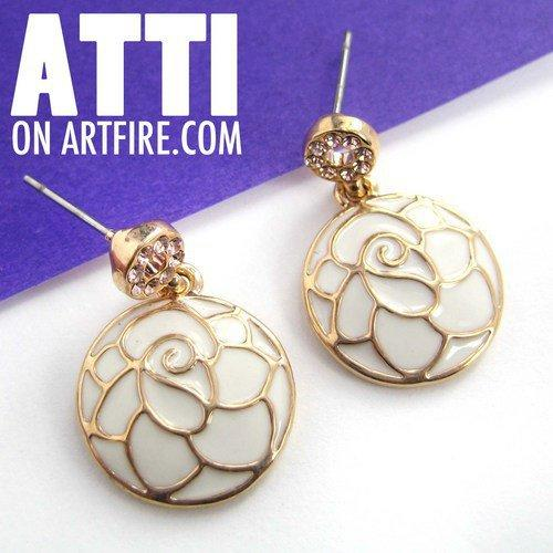 Round Floral Flower Dangle Earrings in White on Gold with Rhinestones