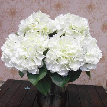 PHFU Home Decoration Flowers Artificial Hydrangea Flower 5 Big Heads Bouquet Decor DIY Creamy white