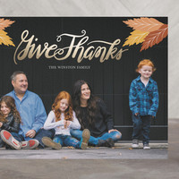 Give Thanks Foil-Pressed Thanksgiving Cards by ati... | Minted
