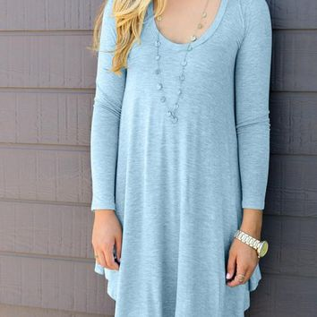 Light Blue Draped Irregular Plus Size Round Neck T-Shirt