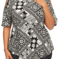 Plus Size Boho Tapestry Print Top