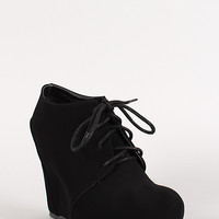 Nubuck Lace Up Platform Wedge Bootie