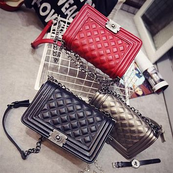 Women Bag Designer Handbags High Quality Ladies Quilted Plaid Chain Shoulder Crossbody Bags PU Leather Women Messenger Bag 8802