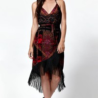 Kendall & Kylie Fringe Wrap Dress - Womens Dress - Red