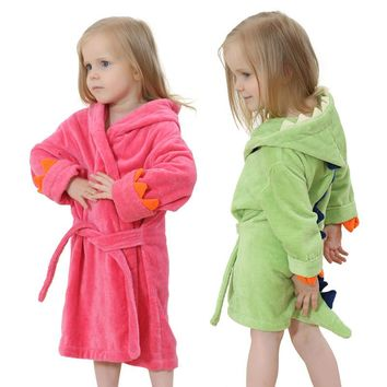 High quality children's bathrobe Retail Baby boy girl soft velvet robe pajamas coral children dress baby clothes for 0-4 years