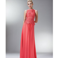 Coral Lace & Chiffon Gown 2015 Prom Dresses