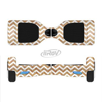 The Wood & White Chevron Pattern Full-Body Skin Set for the Smart Drifting SuperCharged iiRov HoverBoard