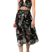 Floral Print V Neck Strappy Waist Dress in Black