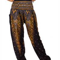 Boho Harem Yoga Pants - Peacock Black