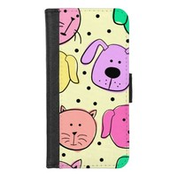 Cute Colorful Pet Pattern iPhone 8/7 Wallet Case