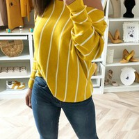 New Yellow Asymmetric Shoulder Round Neck Long Sleeve Casual T-Shirt