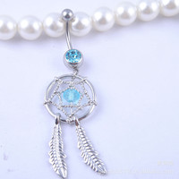 New Charming Dangle Crystal Navel Belly Ring Bling Barbell Button Ring Piercing Body Jewelry = 4804864708