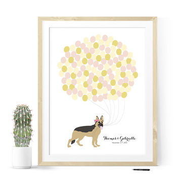 Wedding Guest Book Print -  Pet Portrait with Balloons