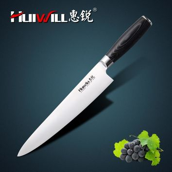 "HUIWILL Brand Super Quality 10"" stainless steel Kitchen Professional Chef Knife Japanese Knife Vegetable Slicing Knife"