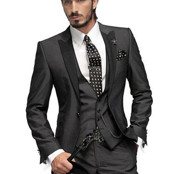 2017 Custom Made Tuxedos  Men Suits with pants Slim Fit  Wedding Suits Groomsmen Groom Suits (Jacket+Pants+Vest+Tie)