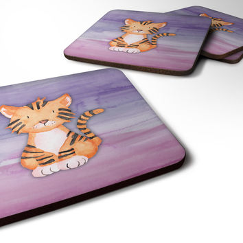 Tiger Cub Watercolor Foam Coaster Set of 4 BB7444FC