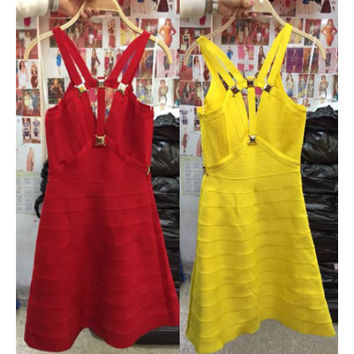 New summer high quality bandage red sequins prom party dress sexy fashion hollow out  yellow bandage dresses