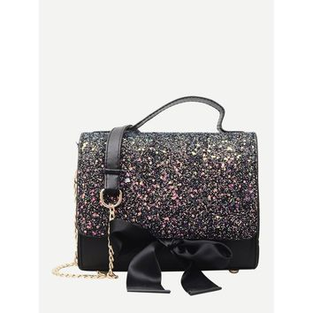 Bow Tie Glitter Chain Bag Black