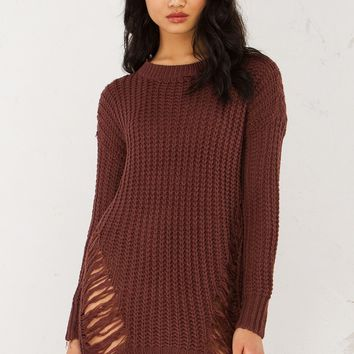 Distressed Knit Sweater in Purple and Grey