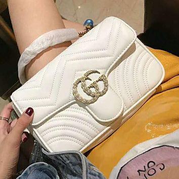 Gucci High Quality Fashionable Women Leather Metal Chain Double G Pearl Shoulder Bag Crossbody Satchel White
