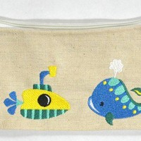 Aquatic Handmade Embroidered Pencil Pouch with Submarine and Whale