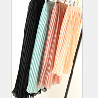 2016 new hot sale women's spring summer bohemian chiffon pleated bust skirts woman casual beach skirt  7 colors