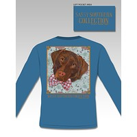 SALE Sassy Frass Collection Preppy Lab Dog Bow Flowers Long Sleeve Bright Girlie T Shirt