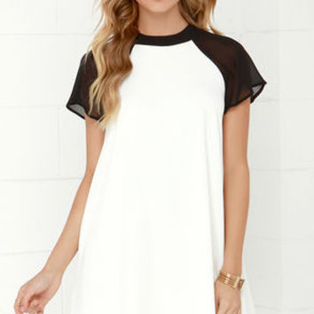 In the Ballpark Black and Ivory Swing Dress
