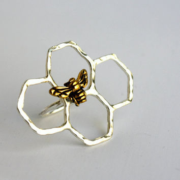 Mini Honey Knuckles- Handmade Sterling Silver Honeycomb Ring