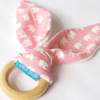 Natural Wooden Teething Ring Soother in 'Pink Elephants On Parade' and Bamboo Terry....another baby gift idea from Cwtch Bugs