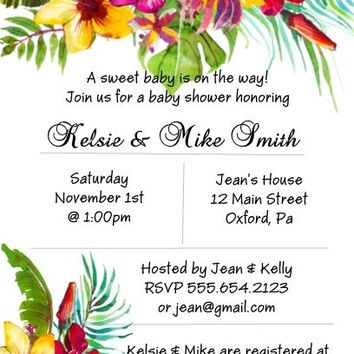 10 Tropical Floral Luau Party Invitations