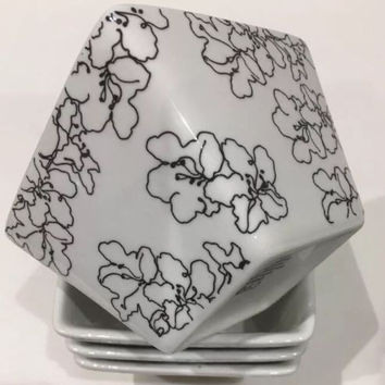 Ciroa Simple Serve Set 4 Square White Porcelain Bowls Black Floral Pattern