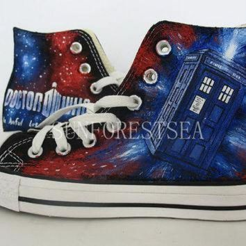 DCCK1IN doctor who converse hand painted shoes canvas shoes