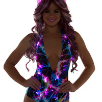 Rainbow Lightning Deep Plunge Light Up Electric Rave Bodysuit