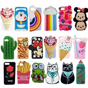 New fashion 3d cute case for iPhone 7 7 plus cartoon minnie mouse cat ice cream soft silicone cover case for iPhone 6 6s plus